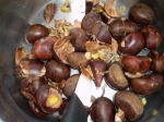 crack open the chestnuts and discard the shells