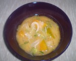 Miso soup with pumpkin